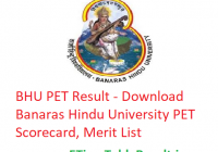 BHU PET Result 2019 - Download Banaras Hindu University PET Scorecard, Merit List