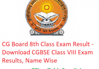 CG Board 8th Class Result 2019 - Download CGBSE Class VIII Exam Results, Name Wise
