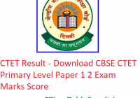 CTET Result 2019 - Download CBSE CTET Primary Level Paper 1 2 Exam Marks Score