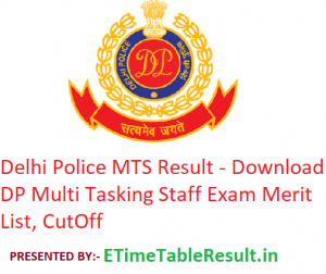 Delhi Police MTS Result 2019 - Download DP Multi Tasking Staff Exam Merit List, CutOff