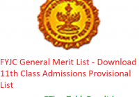 FYJC General Merit List 2019 - Download 11th Class Admissions Provisional List