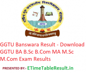 GGTU Banswara Result 2019 - Download GGTU BA B.Sc B.Com MA M.Sc M.Com Exam Results