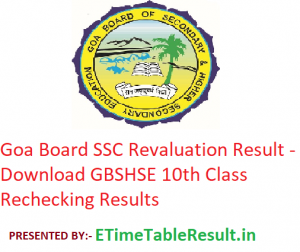 Goa SSC Revaluation Result 2019 - Download GBSHSE 10th Class Rechecking Results