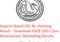 Gujarat Board SSC Rechecking Result 2019 - Download GSEB 10th Class Revaluation/ Retotalling Results