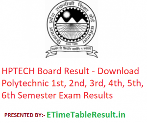 HPTECH Board Result 2019 - Download 1st 2nd 3rd 4th 5th 6th Semester Exam Results