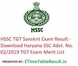 HSSC TGT Sanskrit Result 2019 - Download Haryana SSC Advt. No. 02/2019 TGT Exam Merit List