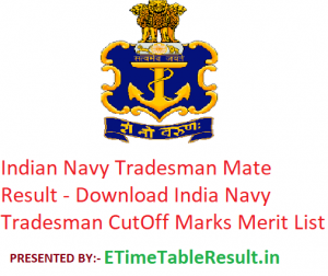 Indian Navy Tradesman Mate Result 2019 - Download Navy Tradesman Exam Merit List, CutOff Marks