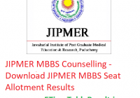 JIPMER MBBS Counselling 2019 - Download JIPMER MBBS Seat Allotment Results