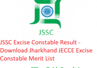 JSSC Excise Constable Result 2019 - Download Jharkhand JECCE Excise Constable Merit List