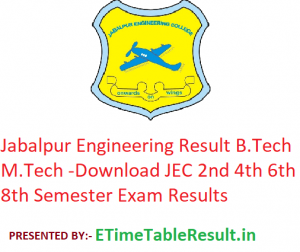 Jabalpur Engineering College Result 2019 - Download JEC B.Tech M.Tech 2nd 4th 6th 8th Semester Results