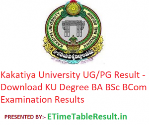 Kakatiya University Result 2019 - Download KU Degree BA B.Sc B.Com Exam Results