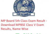 MP Board 5th Class Result 2019 - Download MPBSE Class V Exam Results, Name Wise