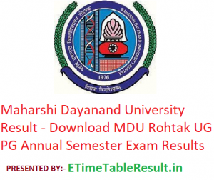 Maharshi Dayanand University Result 2019 - Download MDU Rohtak Latest Annual Semester Exam Results