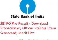 SBI PO Pre Result 2019 - Download Probationary Officer Prelims Exam Scorecard, Merit List