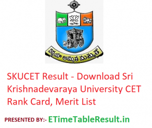 SKUCET Result 2019 - Download Sri Krishnadevaraya University CET Rank Card, Merit List