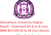 Satavahana University Degree Results 2019 - Download BA B.Sc B.Com BBM BCA MA M.Sc M.Com Exam Results