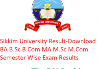 Sikkim University Result 2019 - Download Odd/Even Semester Exam Results