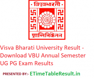 Visva Bharati University Result 2019 - Download VBU Annual Semester UG PG Exam Results
