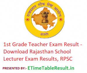 1st Grade Teacher Result 2019 - Download Rajasthan School Lecturer Exam Results, RPSC