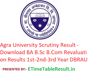 Agra University Scrutiny Result 2019 - Download BA B.Sc B.Com Revaluation Results 1st-2nd-3rd Year DBRAU