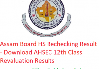 Assam Board HS Rechecking Result 2019 - Download AHSEC 12th Class Revaluation Results