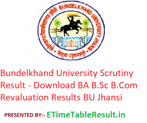 Bundelkhand University Scrutiny Result 2019 - Download BA B.Sc B.Com Revaluation Results BU Jhansi