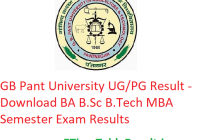 GB Pant University Result 2019 - Download BA B.Sc B.Tech MBA Semester Exam Results
