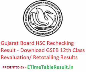 Gujarat Board HSC Rechecking Result 2019 - Download GSEB 12th Class Revaluation/ Retotalling Results