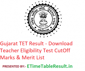 Gujarat TET Result 2019 - Download Teacher Eligibility Test CutOff Marks & Merit List