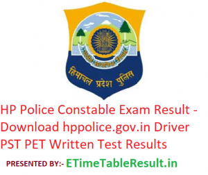 HP Police Constable Result 2019 - Download hppolice.gov.in Driver PST PET Written Test Results