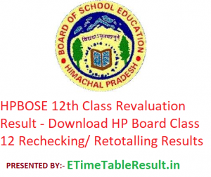 HPBOSE 12th Class Revaluation Result 2019 - Download HP Board Class 12 Rechecking/ Retotalling Results