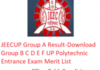 "JEECUP Group A Result 2019 ""Download"" Group B C D E F UP Polytechnic Entrance Exam Merit List"