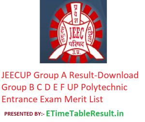 """JEECUP Group A Result 2019 """"Download"""" Group B C D E F UP Polytechnic Entrance Exam Merit List"""