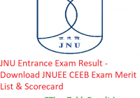 "JNU Entrance Exam Result 2019 ""Download"" JNUEE CEEB Exam Merit List & Scorecard"