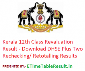 Kerala Board 12th Class Revaluation Result 2019 - Download DHSE Plus Two Rechecking/ Retotalling Results