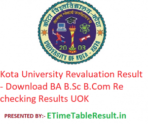 Kota University Revaluation Result 2019 - Download BA B.Sc B.Com Rechecking Results UOK