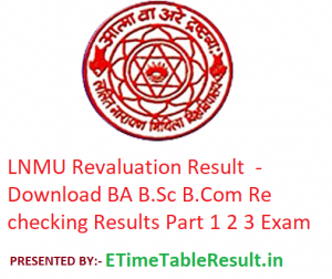 LNMU Revaluation Result 2019 - Download BA B.Sc B.Com Rechecking Results Part 1 2 3 Mithila University
