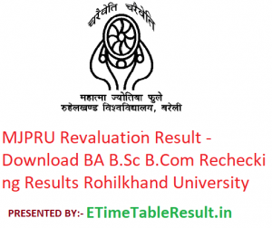 MJPRU Revaluation Result 2019 - Download BA B.Sc B.Com Rechecking Results Rohilkhand University