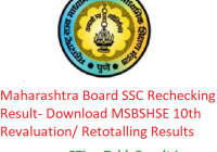 Maharashtra Board SSC Rechecking Result 2019 - Download MSBSHSE 10th Class Revaluation/ Retotalling Results