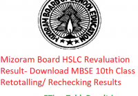 Mizoram Board HSLC Revaluation Result 2019 - Download MBSE 10th Class Exam Retotalling/ Rechecking Results