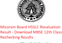Mizoram Board HSSLC Revaluation Result 2019 - Download MBSE 12th Class Rechecking Results