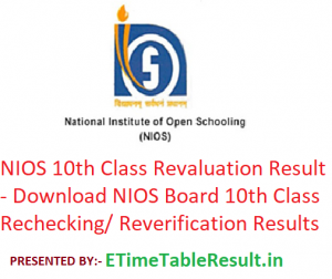 NIOS 10th Class Revaluation Result 2019 - Download NIOS Board 10th Rechecking/ Reverification Results