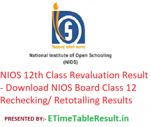 NIOS 12th Class Revaluation Result 2019 - Download NIOS Board Class 12 Rechecking/ Retotalling Results