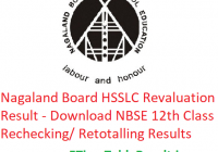 Nagaland Board HSSLC Revaluation Result 2019 - Download NBSE 12th Class Rechecking/ Retotalling Results