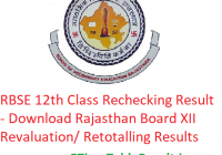 RBSE 12th Class Rechecking Result 2019 - Download Rajasthan Board XII Revaluation/ Retotalling Results