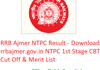RRB Ajmer NTPC Result 2019 - Download rrbajmer.gov.in NTPC 1st Stage CBT Cut Off & Merit List