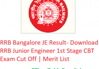 RRB Bangalore JE Result 2019 - Download RRB Junior Engineer 1st Stage CBT Exam Cut Off | Merit List