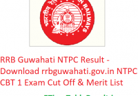 RRB Guwahati NTPC Result 2019 - Download rrbguwahati.gov.in NTPC CBT 1 Exam Cut Off & Merit List