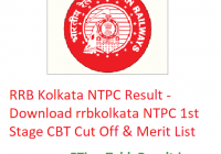 RRB Kolkata NTPC Result 2019 - Download rrbkolkata NTPC 1st Stage CBT Cut Off & Merit List
