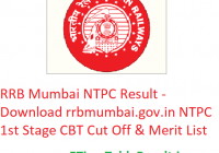 RRB Mumbai NTPC Result 2019 - Download rrbmumbai.gov.in NTPC 1st Stage CBT Cut Off & Merit List